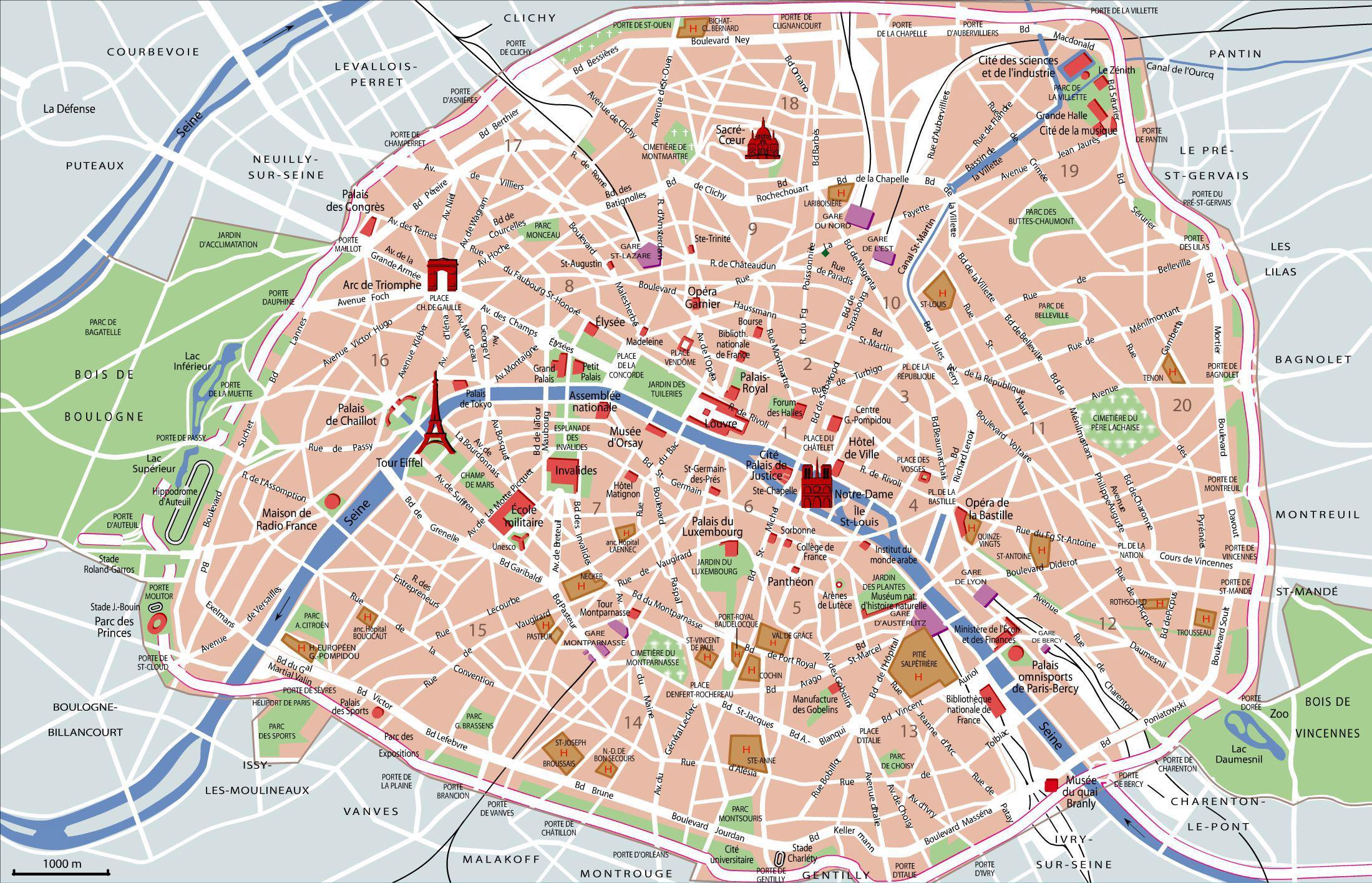 Paris Sightseeing Kart Paris Severdigheter Kart Ile De France